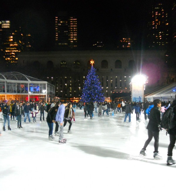 ice skaters enjoy the Winter Village at Bryant Park.