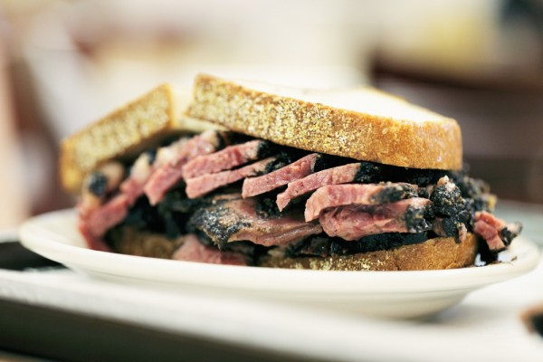 One classic New York food: pastrami on rye