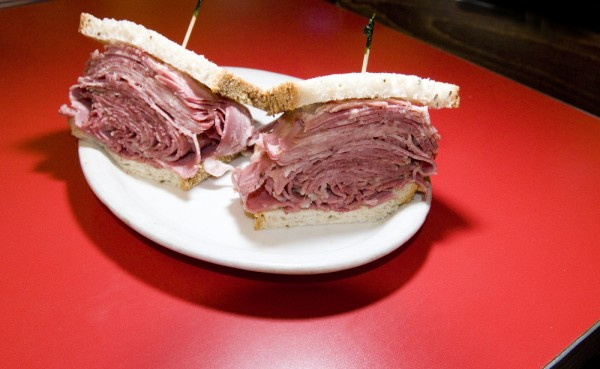 Corned beef on rye, a classic New York deli food