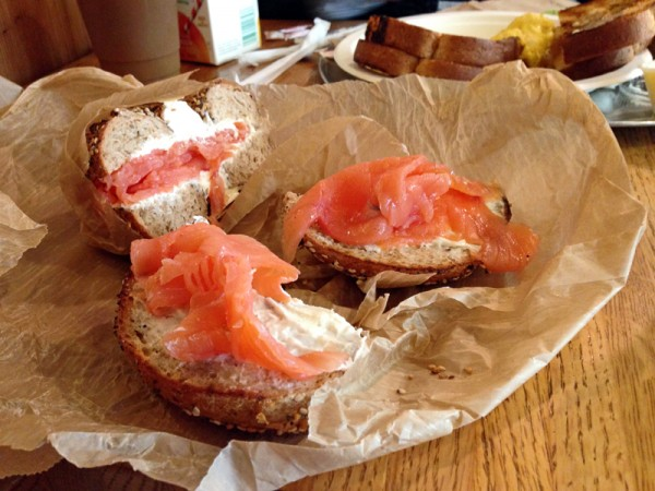 Bagel with a schmear and lox