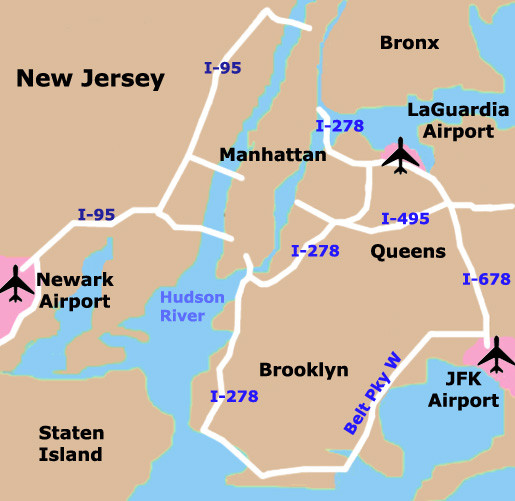 NYC airport map