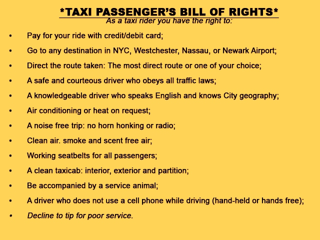 NYC Taxi bill of rights