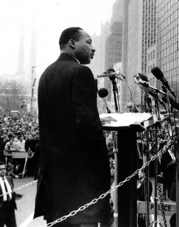 MLK en la manifestación de la guerra de Vietnam en Nueva York