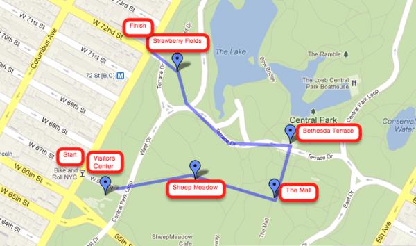 Mapa del recorrido a pie por Central Park