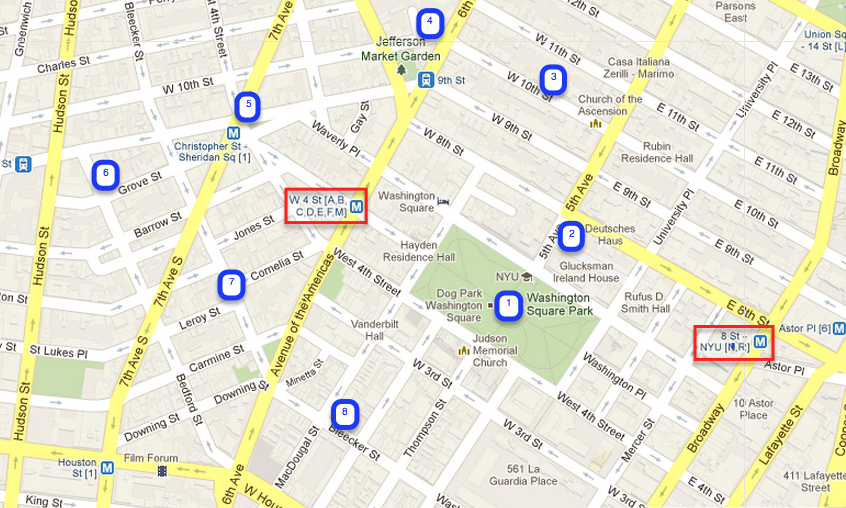 Greenwich Village Walking tour map - Walks of New York