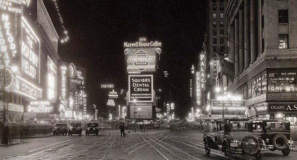 Times Square in the 1920s, as it would have looked to Fitzgerald