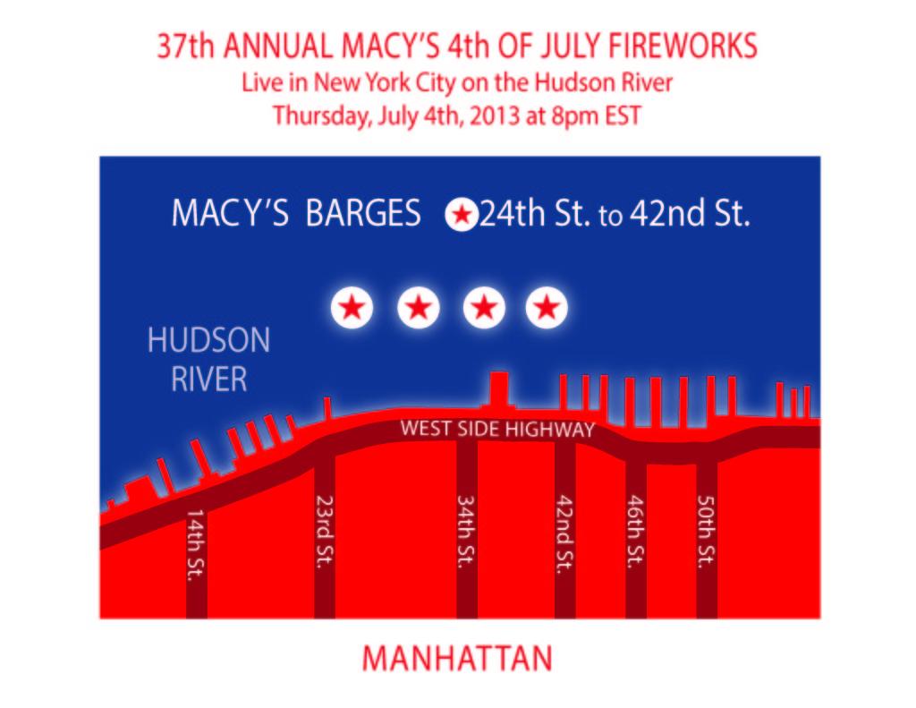 Mapa de visualización de fuegos artificiales de Macy's