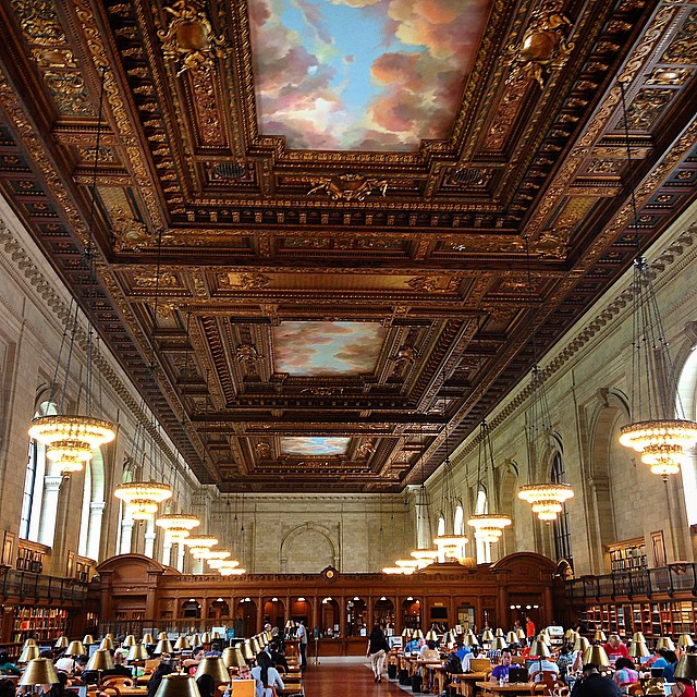 The grand Reading Room at the landmark NY Public Library. They don't make 'em like this anymore.