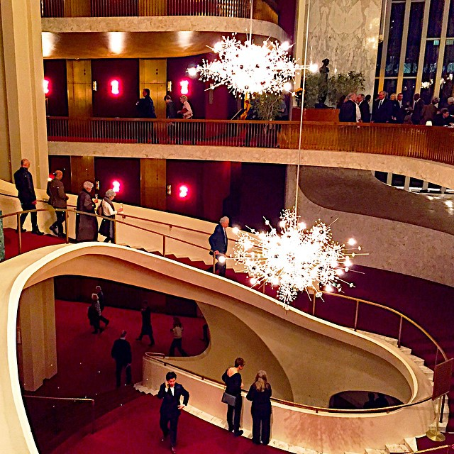 A night at the opera - love the curvaceous staircase & starburst chandeliers at the Met.