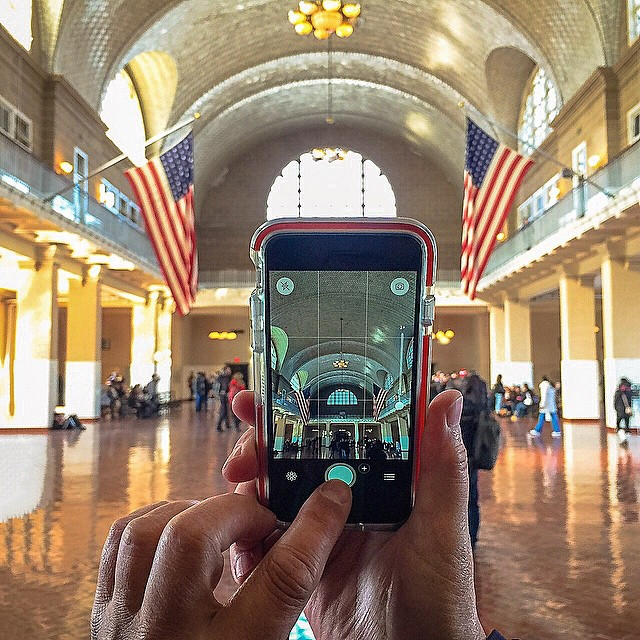Capturing Ellis Island's grand registration hall. While I was the hand model, this photo was taken by the talented @kirstenalana.