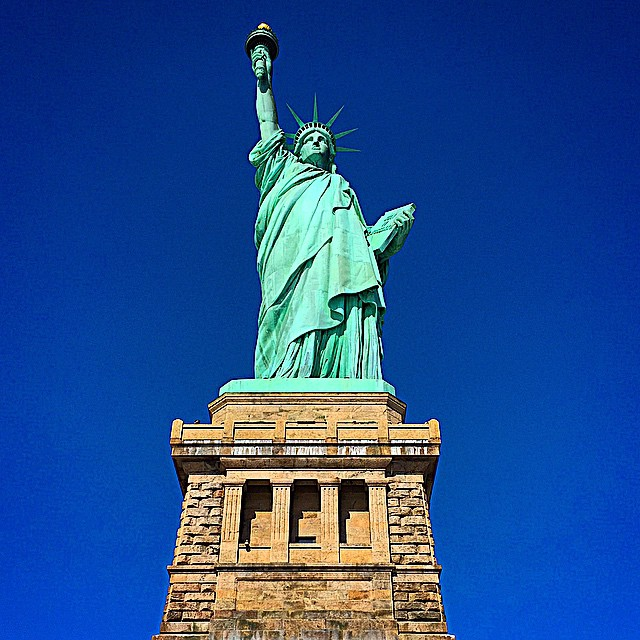 Lady Liberty on a bright winter morning.