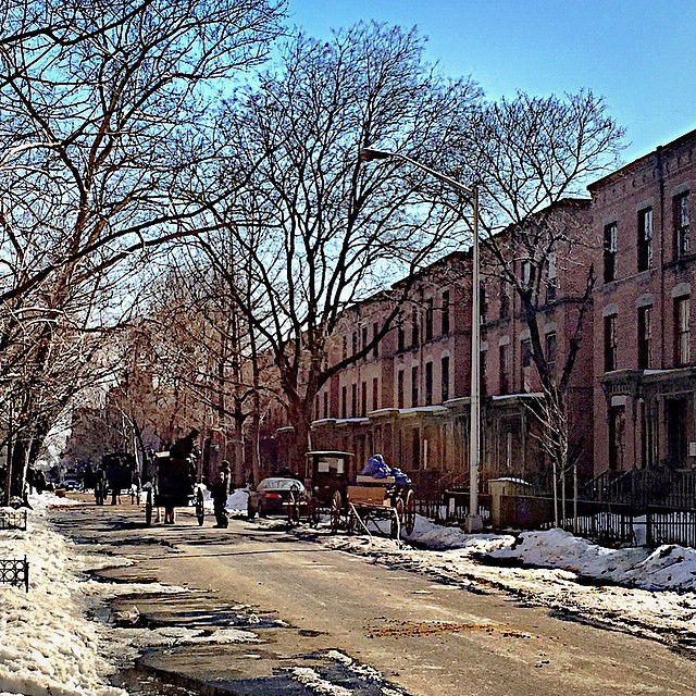 "Time warp? Steven Soderbergh's ""The Knick"" filming on Harlem's picturesque Astor Row."