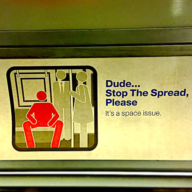 "Spotted on the #2 train. Have to admit, this is a pet peeve. Wonder if this MTA campaign can stem the ""spread"" of straphangers behaving badly. What's your subway pet peeve?"