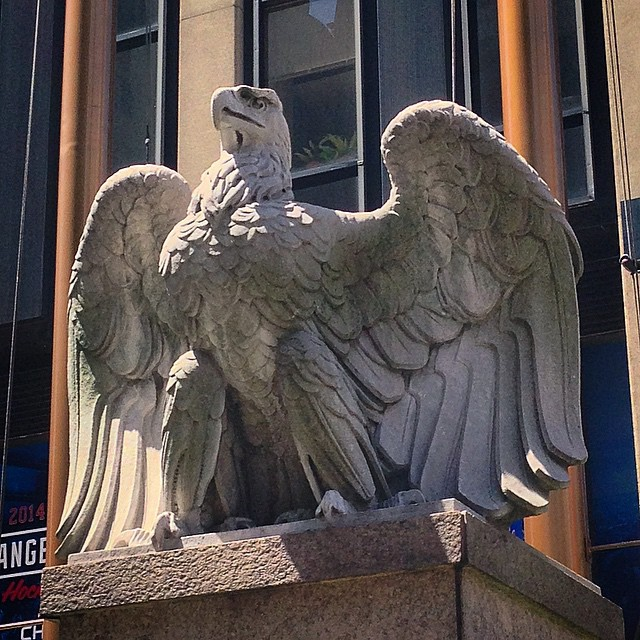 Do you recognize him? This eagle is one of the few remnants of the original Penn Station. Many of the sculptures from that monumental structure ended up in New Jersey swamps. You'll find him perched on Seventh Ave, beside the entrance to Madison Sq. Garden.